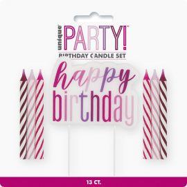 12 GLITZ PINK CANDLE HAPPY BIRTHDAY PICK
