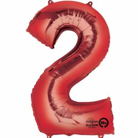 34 INCH RED NUMBER 2 BALLOON