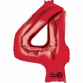 34 INCH RED NUMBER 4 BALLOON