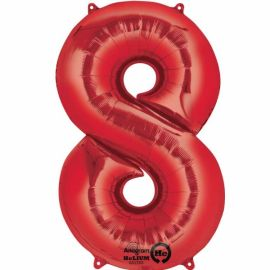 34 INCH RED NUMBER 8 BALLOON