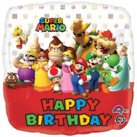 SUPER MARIO HAPPY BIRTHDAY 18 INCH FOIL BALLOON