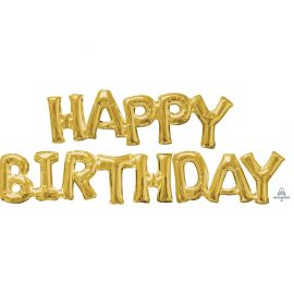 HAPPY BIRTHDAY GOLD AIR FILLED