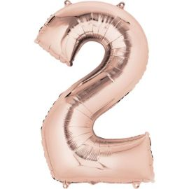 34 INCH ROSE GOLD NUMBER 2 BALLOON