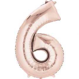 34 INCH ROSE GOLD NUMBER 6 BALLOON