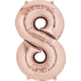 34 INCH ROSE GOLD NUMBER 8 BALLOON