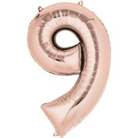 34 INCH ROSE GOLD NUMBER 9 BALLOON