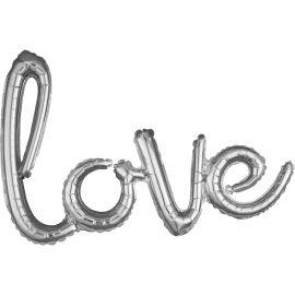 SCRIPT AIR FILLED LOVE BALLOON SILVER