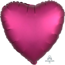 SATIN POMEGRANATE HEART 18 INCH BALLOON