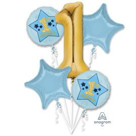 1ST BIRTHDAY BOY BLUE AND GOLD BALLOON BOUQUET