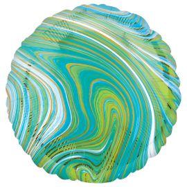 18 INCH BLUE GREEN MARBLEZ ROUND FOIL BALLOON