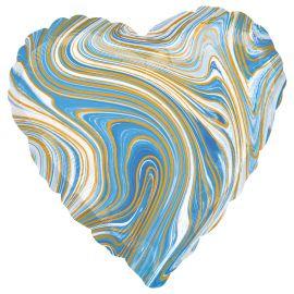 18 INCH BLUE MARBLEZ HEART FOIL BALLOON