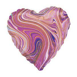 18 INCH PURPLE MARBLEZ HEART FOIL BALLOON