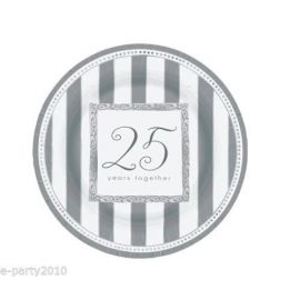 PAPER PLATES 26.7 CM 8 CT SILVER ANNIVERSARY