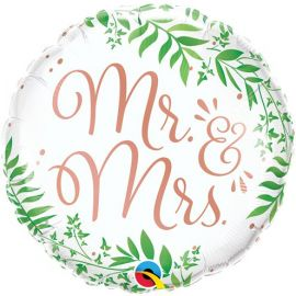 18 INCH MR & MRS ELEGANT GREENERY FOIL