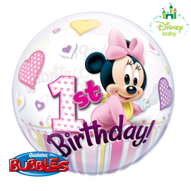 22 INCH SINGLE BUBBLE MINNIE MOUSE 1ST BIRTHDAY