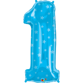 38 INCH SHAPE NUMBER 1 BLUE WITH STARS BALLOON