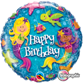 18 INCH HAPPY BIRTHDAY MERMAIDS HOLO