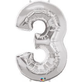 34 INCH  SILVER NUMBER 3 BALLOON