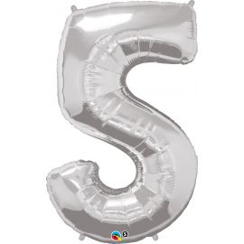 34 INCH SILVER NUMBER 5 BALLOON