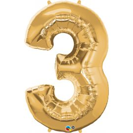 34 INCH GOLD NUMBER 3  BALLOON