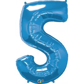 34 INCH BLUE NUMBER 5 BALLOON