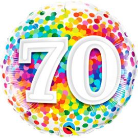 18 INCH RAINBOW CONFETTI AGE 70