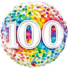 18 INCH RAINBOW CONFETTI AGE 100