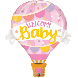 42 INCH WELCOME BABY PINK HOT AIR BALLOON