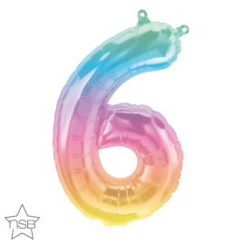 16 INCH JELLI PASTEL OMBRE NUMBER 6 FOIL