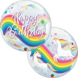 22 INCH SINGLE BUBBLE BDAY RAINBOW UNICORNS