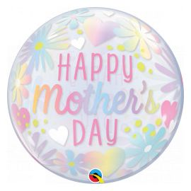 22 INCH MOTHERS DAY FLORAL PASTEL SINGLE BUBBLE