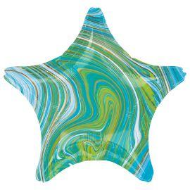 19 INCH BLUE GREEN MARBLEZ STAR FOIL BALLOON