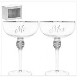 MR & MRS SET OF 2 DIAMANTE COUPE GLASSES