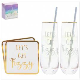 STEMLESS FLUTES & COASTER SET X2