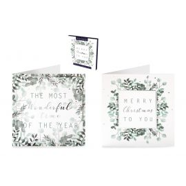 BOX CARDS FOLIAGE TEXT LUXURY PK OF 12