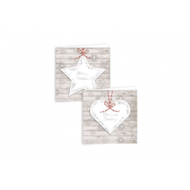 12 SQUARE STAR AND HEART CHRISTMAS CARDS