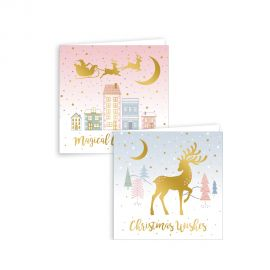 12 SQUARE BLUSH SCENE CHRISTMAS CARDS