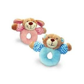 BABYS FIRST BEAR AND PUPPY RATTLE PINK 13CM