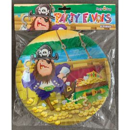 PAPER PLATES 9 INCH 8 PK PIRATES GOLD