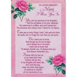 LOVING MEMORY MUM MISS YOU SO MUCH KEEPSAKE MEDIUM