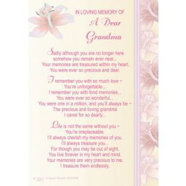 LOVING MEMORY OF A DEAR GRANDMA KEEPSAKE MEDIUM X6