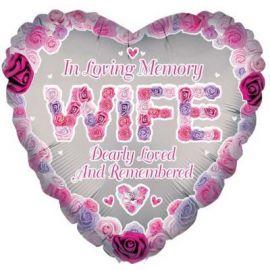 18 INCH HEART IN LOVING MEMORY WIFE