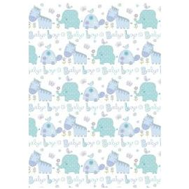 BABY BOY ANIMALS WRAPPING PAPER 1 SHEET