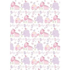 BABY GIRL JUNGLE WRAPPING PAPER 1 SHEET
