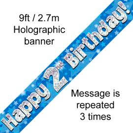 9FT BANNER BLUE HOLO HAPPY 2ND BIRTHDAY
