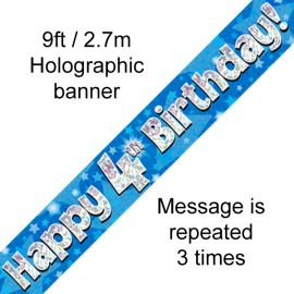 9FT BANNER BLUE HOLO HAPPY 4TH BIRTHDAY