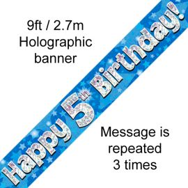 9FT BANNER BLUE HOLO HAPPY 5TH BIRTHDAY