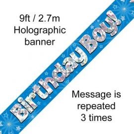 9FT BANNER BLUE HOLO BIRTHDAY BOY