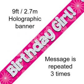 9FT BANNER PINK HOLO BIRTHDAY GIRL