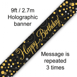 HAPPY BIRTHDAY BANNER GOLD & SILVER 2.7M